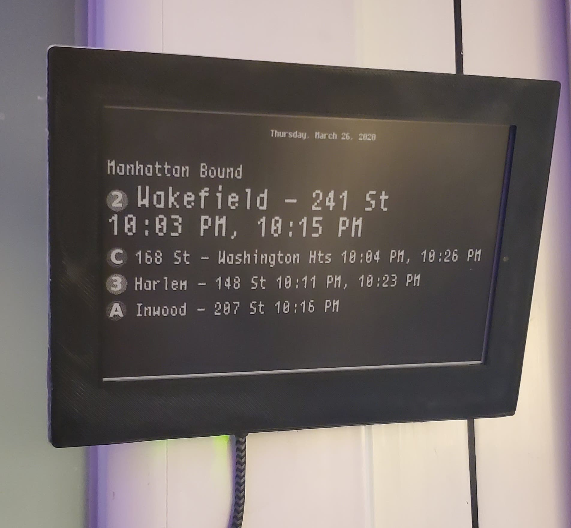 Custom E-Ink Magic Mirror for NYC Transit